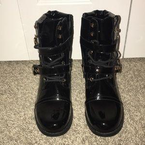 Black Pleather Combat Boot